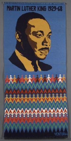 Martin Luther King. Jr. tapestry crochet made by Carol Ventura