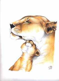 Baby Tattoos For Moms 446419381814389189 - Mom and cub of lions by Loren-Farlow on DeviantArt Source by ameliebaldo Lioness And Cub Tattoo, Lion Cub Tattoo, Lioness And Cubs, Cubs Tattoo, Animal Sketches, Animal Drawings, Mothers Day Drawings, Mother Son Tattoos, Lion Drawing