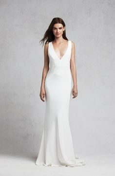 V-Neck Sheath Wedding Dress  with Natural Waist in Satin. Bridal Gown Style Number:33253972