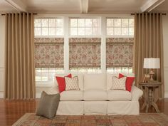 Photography courtesy of Lafayette Interior Fashions. Traditional Window Treatments, Traditional Windows, Window Treatments Living Room, Living Room Windows, Coral Living Rooms, Budget Blinds, Double Hung Windows, Custom Drapes, Shades Blinds
