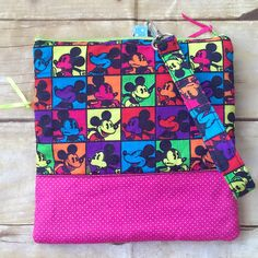 Square double zipper wristlet purse, Mickey Mouse in bright colors by PopThree on Etsy https://www.etsy.com/listing/466710256/square-double-zipper-wristlet-purse