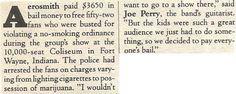 Aerosmith / Aerosmith Paid $3650 in Bail Money   Magazine Article (1978)