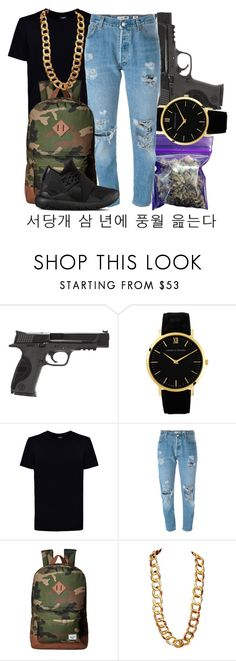 """""""ayy"""" by miss-hollyhood ❤ liked on Polyvore featuring Smith & Wesson, INC International Concepts, Larsson & Jennings, Kloters Milano, Levi's, Herschel Supply Co., Coach, Y-3, men's fashion and menswear"""