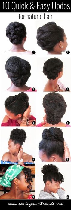 SavingOurStrands Celebrating Our Natural Kinks Curls & Coils: 10 Quick and Easy Updos For Natural Hair Cabello Afro Natural, Pelo Natural, Natural Hair Updo, Long Natural Hair, Natural Hair Growth, Natural Hair Styles, Natural Hair Hairstyles, Headwraps For Natural Hair, Protective Styles For Natural Hair Short