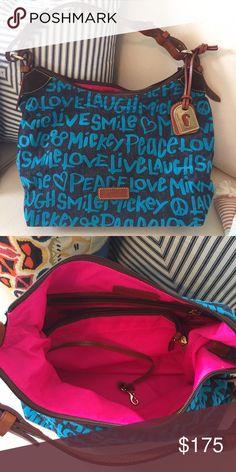 "Dooney and Bourke Bag Denim ""peace, love, & Mickey"", hot pink interior, great condition! Dooney & Bourke Bags Hobos"