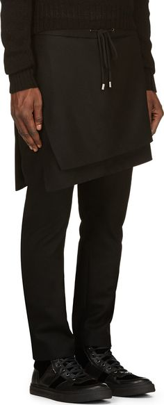 76562b92e72 D - Black Skirt Panel Trousers