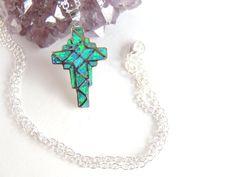 Opal Cross Necklace Opal Jewelry Sterling Silver by AlwaysCrafty77, $35.00