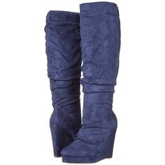 Michael Antonio Eastin-Sue Women's Pull-on Boots, Blue ($25) ❤ liked on Polyvore featuring shoes, boots, blue, pull on boots, blue boots, platform wedge boots, slouchy boots and knee high slouch boots