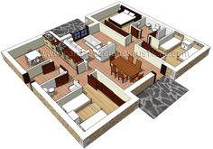 3d de distribución de casa rústica de piedra de planta baja de 3 dormitorios con porche delantero y trasero