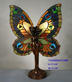 TIFFANY LEADLIGHT BUTTERFLY FAIRY TABLE LAMP