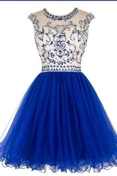 Sparkle Charming Royal Blue Beading Pretty Homecoming Dresses K377 2adaced5ec19
