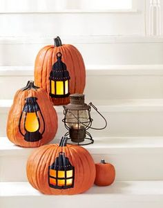paint lanterns on you pumpkins and cut out the light area, it will glow once the candle is lit.