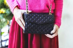 Stylish details. Look: rebecca minkoff quilted mini affair dark cherry bag, re:named dress, elf sack pink sweater