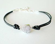 Thin Black Leather Bracelet with Silver Tubes by MaisJewelry