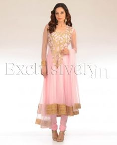 #Exclusivelyin, #IndianEthnicWear, #IndianWear, #Fashion, Bubblegum Pink Net Suit With Gold Embroidered Yoke