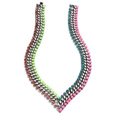 Hart necklace with oxidized silver-plate and neon pink and green, blue, and red Swarovski crystals by Dannijo
