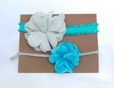 Matching Headband/tieback Set.  So sweet!!! Turquoise and Grey Tie Back set for Newborn by SimplyCharleneProps, $10.00