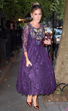 Sarah Jessica Parker from The Big Picture: Today's Hot Pics  Lovely in lace! The actress stuns in a jeweled purple lace dress while spotted en route to her DivorceTV movie premiere in New York City.