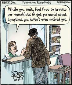 Bizarro Comic Strip for October 2016 Cartoon Jokes, Funny Cartoons, Funny Comics, Funny Memes, Funny Cute, Hilarious, Bizarro Comic, Medical Jokes, Therapy Humor