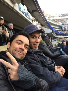 Danny Pino saying peace at a football game with his friend Matt Megorry picture taken by pal Pablo Schreiber so cute Danny Pino, Matt Mcgorry, Beautiful Men, Beautiful People, Pablo Schreiber, Orange Is The New Black, Celebrity Crush, Actors & Actresses, Tv Shows