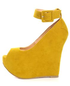 A yellow suede, ankle-strap, peep-toe wedge. Could there be anything better?