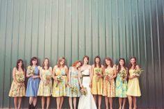 Mismatched floral bridesmaids - common color scheme different prints