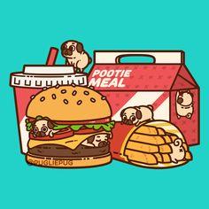 The official Puglie Pug website and store! Arte Do Kawaii, Art Kawaii, Kawaii Doodles, Cute Doodles, Cute Food Drawings, Cute Kawaii Drawings, Cute Animal Drawings, Pug Wallpaper, Kawaii Wallpaper