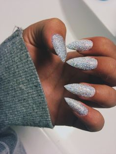Sparkly Grey Stiletto Nails. I want my hands to look like a disco ball.