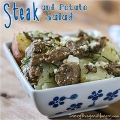 Steak & Potato Salad -- Get your steak and potatoes all in one with this delicious side dish, perfect for fall picnics and football parties!