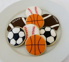 Sports Ball decorated cookie favors: footballs, baseballs, soccer balls and basketballs,1 dozen