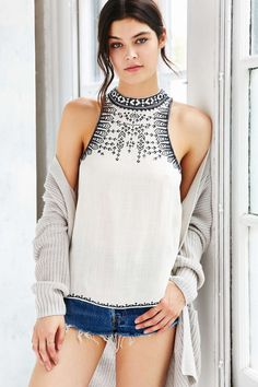 Ecote Leah Embroidered Swing Top - Urban Outfitters