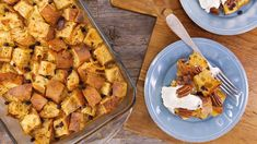 Danielle Kartes' Blueberry Brown Sugar Baked French Toast Topped with Toasted Pecans, Buttermilk Maple Syrup and Whipped Cream Recipe