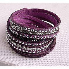 Leather Bracelets Twice New Arrivals Popular Copper Piece Diamond Dark Purple boots – EUR € 3.95