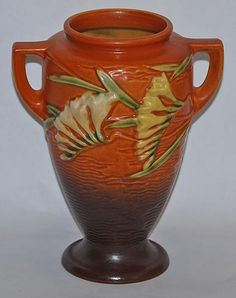 Roseville Pottery Freesia Brown Vase 121-8 from Just Art Pottery