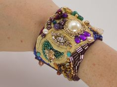 Wide Bead Embroidered Cuff Bracelet with Semi-precious Stones, Freshwater  Pearls, Antique Lace