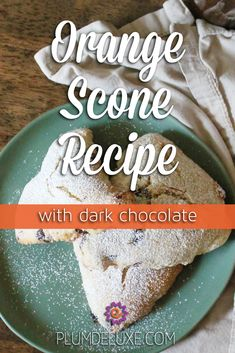 This orange scone recipe is accented with dark chocolate chunks, making it a comforting and cozy treat. #orangescones #orangesconesrecipe #sconesrecipeeasy
