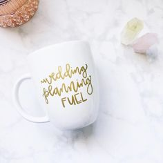 """Perfect mug for brides to be! Hand lettered """"Wedding Planning Fuel"""" mug ☕️☕️☕️"""