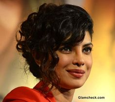 Priyanka Chopra 2013 curly hairstyle at NDTV Vedanta Our Girls Our Pride Campaign