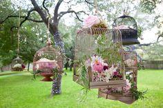 Hanging vintage birdcages; mirth in the garden~