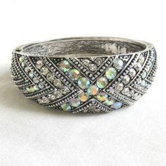 Vintage Clear & Aurora Borealis Rhinestone Clamper Bracelet by MyVintageJewels, $36.00