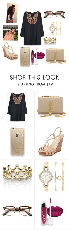"""""""#A day with bestie """" by madypooh on Polyvore featuring MANGO, Yves Saint Laurent, Rifle Paper Co, Seychelles, Erica Courtney and Anne Klein"""