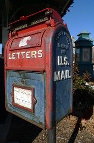 Vintage Blue & Red Mailbox
