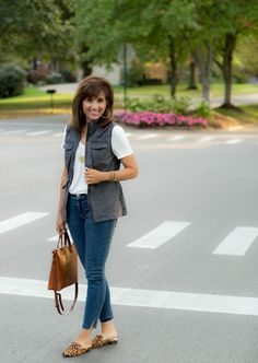 The weekend is over and we are heading into the last week of September. It's hard to believe! Today I'm sharing a military vest and leopard print mules.