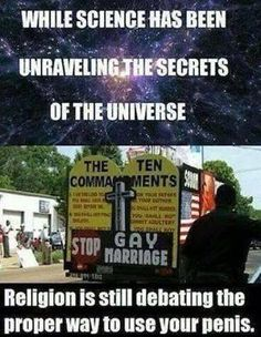 Religion sticks to what it's good at, and what it's good at is shaming, not science.