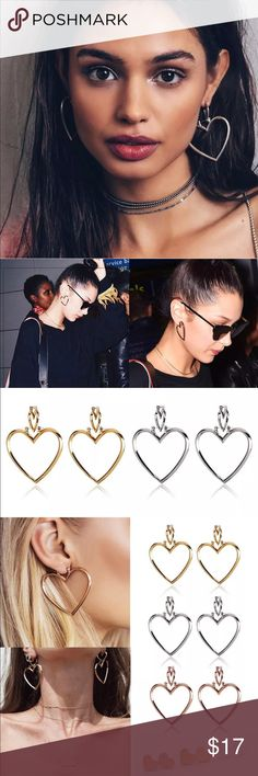 ✨Silver Double Heart Earrings✨ Trendy Double Heart Hoop Hollow Style Dangle Statement Earrings. Silver Tone Color. Can be worn with various outfits! Can be worn by themselves or combined together for double heart look. Cute and fun fashion jewelry. New in package. Bundle and save!   •Measurements•Small Hearts 1.8cm•Large Hearts 4.5cm  Rose Gold & Gold available in separate listing! Jewelry Earrings