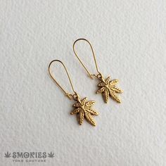 marijuana earring gold,weed, stoner, pot leaf jewelry, marijuana jewelry, gold leaf earring, jewelry, SIMPLE Leaf Gold SMER-0005-GXX PLEASE SEE SHIPPING TAB FOR TURNAROUND TIME Delicate antique gold cannabis leaves Hang from nickel free lead free gold tone kidney wires. available