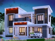 1700 square feet 4 bedroom modern box model house plan by Dream Form from Kerala. 1700 square feet 4 bedroom modern box model house plan by Dream Form from Kerala. Bungalow Haus Design, Duplex House Design, House Front Design, Small House Design, Modern House Design, House Floor Plan Design, 3 Storey House Design, Single Floor House Design, New Model House