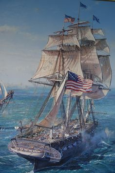 Don't know what ship this is. It's an American frigate. I can see an N on the stern. It's not President, United States, Congress, or Philadelphia. Sailboat Art, Nautical Art, Sailboats, Pirate Art, Pirate Crafts, Pirate Ships, Sea Storm, Old Sailing Ships, Uss Constitution