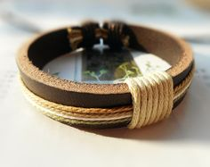 Christmas Popular Trend Fashion Nature Brown Leather cuff Colorful Buff Cotton Thread Round Adjustable Wrap Bracelet C-75