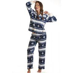 Camille Womens Blue Nordic Pattern Pyjamas Fleece Pajamas 3b2adf29f
